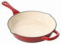 10 Inch Round Red Enameled Cast Iron Skillet Pan Pot Free Sh