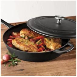 "Tramontina 12.5"" Covered Cast Iron Skillet,Durable Pan."