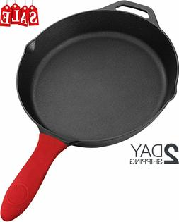 12.5 Inch Pre-Seasoned Cast Iron Skillet with Silicone Handl