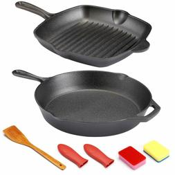 "12"" Cast Iron Skillet - Kitchen Cookware Set 12"" Round C"