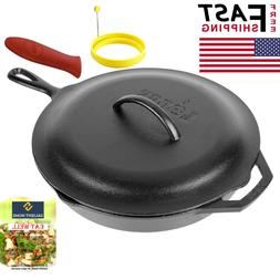 Lodge 12 Inch Cast Iron Skillet with Cover Pre-Seasoned Cook