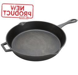 "14"" Cast Iron Fry Pan Skillet Pre-Seasoned W/ Handle Camping"