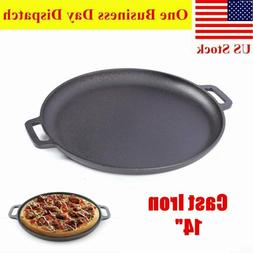 "14"" Round Non-stick Cast Iron Pizza Pan Skillet for Cooking,"