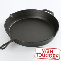 "15"" Cast Iron Skillet Frying Pan Pre Seasoned Cooking Oven K"