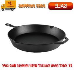 """15"""" Cast Iron Skillet With Handle & Lips, Kitchen Home & Out"""