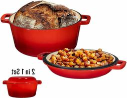 2 in 1 Enameled Cast Iron Double Dutch Oven & Skillet 5-Quar