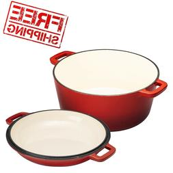 2 in 1 Enameled Cast Iron Double Dutch Oven & Skillet Lid, 5