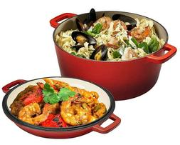 2 in 1 enameled cast iron double