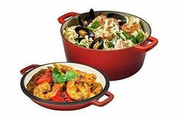 2in1 Enameled Cast Iron Double Dutch Oven&Skillet Lid,5-Quar
