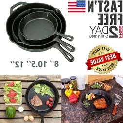 Pre Seasoned Cast Iron Skillet Set 8 10 12.5 Inch Stove Oven