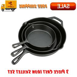 3 Piece Cast Iron Skillet Pan Set, Kitchen Home And Outdoors