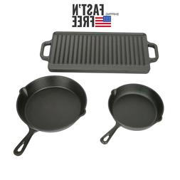 Ozark Trail 3 Piece Cast Iron Skillet Set With Griddle Porta