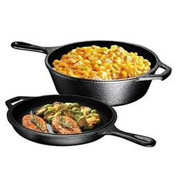 3 Quart Oven Frying Pan Skillet and Lid Set 2-In-1 Cast Iron