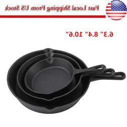 3X Cast Iron Skillet Frying Pan Pot Cookware For Gas/Inducti