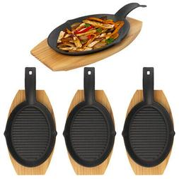 4pk Cast Iron Fajita Skillet 2pc Set With Wood Base Cooking