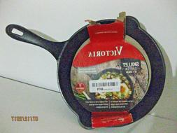 "VICTORIA 8"" CAST IRON SKILLET SEASONED NO DRIP POURING SPOUT"