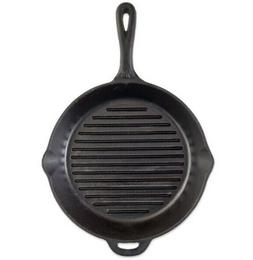 "Camp Chef 12-Inch Pre-Seasoned Round Cast Iron ""Ribbed"" Skil"