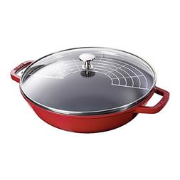 Staub 1312906 Cast Iron Perfect Pan, 4.5-Quart, Cherry