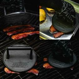 BBQ Cast Iron Cookware Skillet Griddle Bacon Press Round Vin