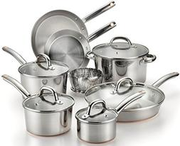 T-fal Stainless Steel with Copper Bottom Cookware Set, Pots