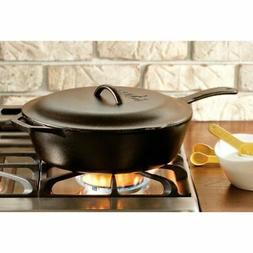 Cast Iron 10.25 3 Qt Covered Deep Skillet Kitchen Induction/