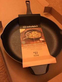"CALPHALON Cast Iron 12"" Skillet Fry Cooking Pan Pre-Season"