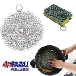 Cast Iron Cleaner Scrubber Stainless Steel 316 Chainmail Ski