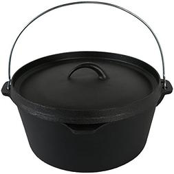 Sunnydaze Large Cast Iron Deep Dutch Oven Pot with Lid and H