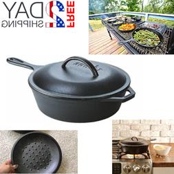 Cast Iron Deep Round Skillet With Lid Frying Bread Baking Ch