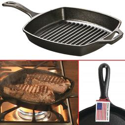 CAST IRON GRILL PAN Pre Seasoned Steak Bacon Grill Kitchen S