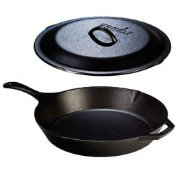 Cast Iron Pan Frying 12 Inch Skillet Lid LODGE Cookware Set