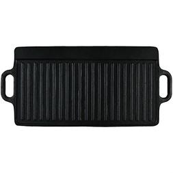 Sunnydaze Cast Iron Grill/Griddle Reversible, Stovetop or Ca