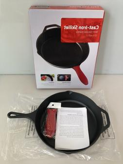 Utopia Kitchen Cast Iron Skillet 12.5in w/ Red Rubber Handle