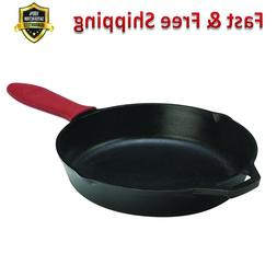 Cast Iron Skillet 12 Inch Pre Seasoned with Red Silicone Hot