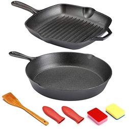 "Cast Iron Skillet - Kitchen Cookware Set 10.25"" Round Cast"
