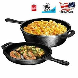 CAST IRON SKILLET Pre Seasoned Frying Cookware Pot Oven Cook