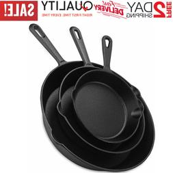 CAST IRON SKILLET Pre Seasoned Kitchen Stove Oven Fry Pans C