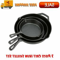 Cast Iron Skillet Set 3 Piece Pre Seasoned Pan Cookware Camp