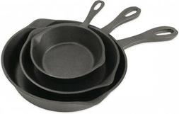 Bayou Classic Cast Iron Small 3-Piece Skillet Set