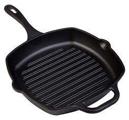 Pre-Seasoned Victoria Cast Iron Square Grill Pan, 10-inch Gr