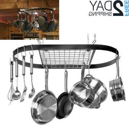 Ceiling Mounted Above Kitchen Island Cast Iron Skillet Pot H