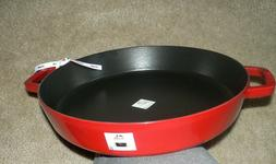 "Staub Cherry Red 13"" Deep Skillet with Double handles NEW"
