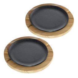 Churrassco Cast Iron Sizzler Set 2-Piece With Wood Trivet