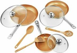 Copper Frying Pan Set with Lids and Spoons - Non-Stick Chef