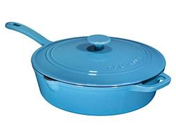 Enameled Cast Iron Skillet Deep Sauté Pan with Lid, 12 Inch