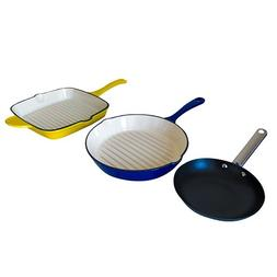 Le Chef 3-Piece All Enameled Cast Iron Skillets.