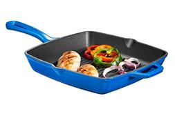 Bruntmor Enameled Cast Iron Square Grill Pan, 10-Inch, Cobal