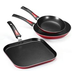 Tramontina 3 Pk EveryDay Red Nonstick Fry Pan Griddle Set