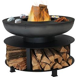 Sunnydaze 40-Inch Fire Pit with Cooking Ledge and Wood Stora
