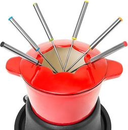 Fondue Set with 6 Forks and 2 Handles Cast Iron Skillet Porc